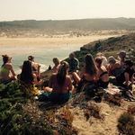 Cliff meditation and healthy picnic